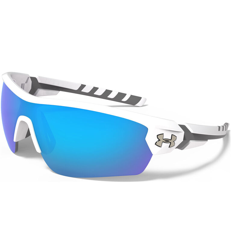 Under Armour Rival Sunglasses - Satin White & Charcoal Gray - Blue Multiflection Lenses