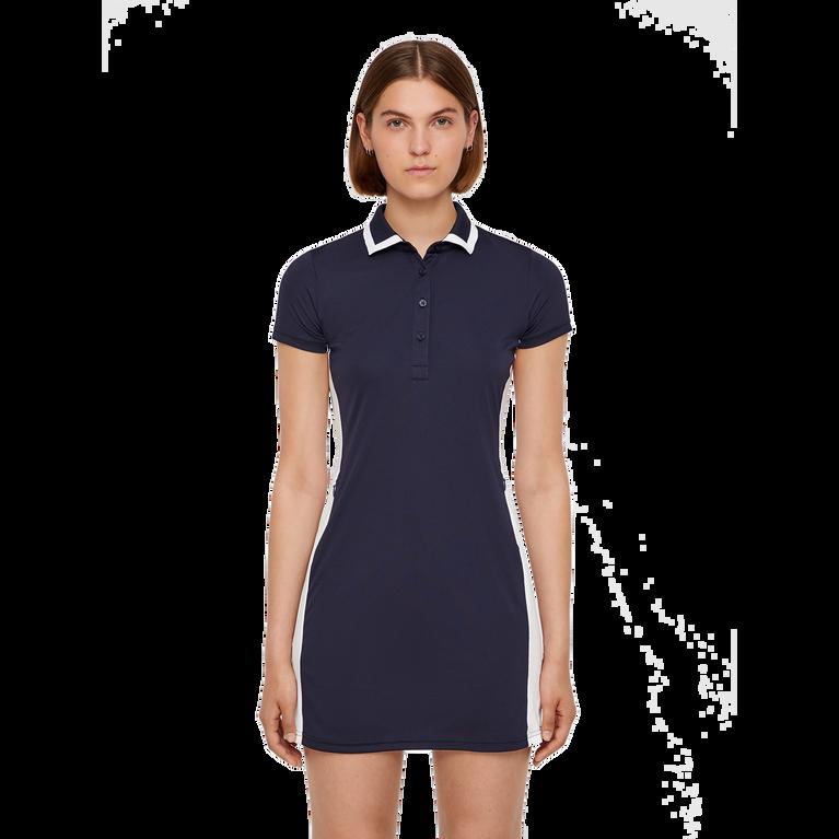 Short Sleeve Leona Trim Collar Dress Front Cut