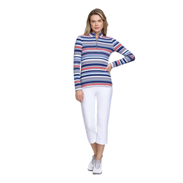 Skyline Collection: Brooke Diamond Stripe Quarter Zip Pull Over
