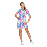 Fun in the Sun Collection: Zaya Printed Palm Elbow Sleeve Dress