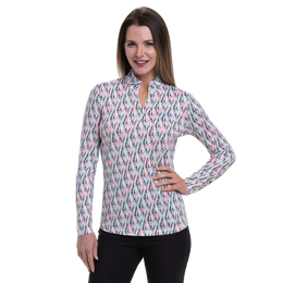Cargo Chic Collection: Woodblock Print Long Sleeve Quarter Zip Pull Over