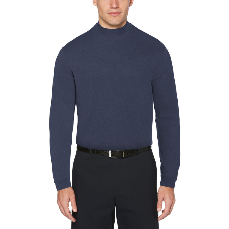 Heather Ventilated Long Sleeve Mock Neck