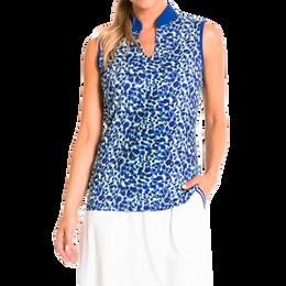 Waterdrop Print Sleeveless Polo Shirt