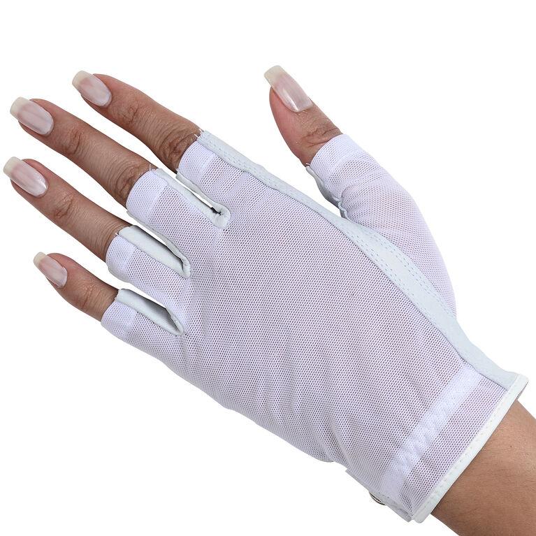 Lady Classic Women's Solar Tan Half Golf Glove - White