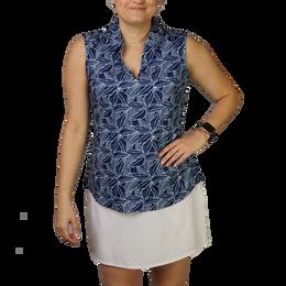 Leaf Print Sleeveless Polo Shirt