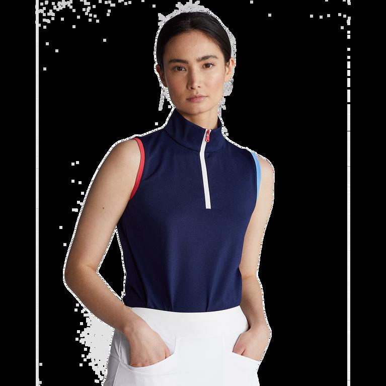 Tri Color Sleeveless Quarter Zip Polo Shirt