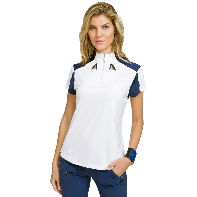 Cupid Group: Short Sleeve Color Block Quarter Zip Polo