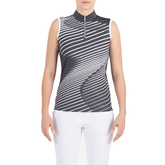 Pink Art Collection: Sleeveless Wavy Lines Mock Polo