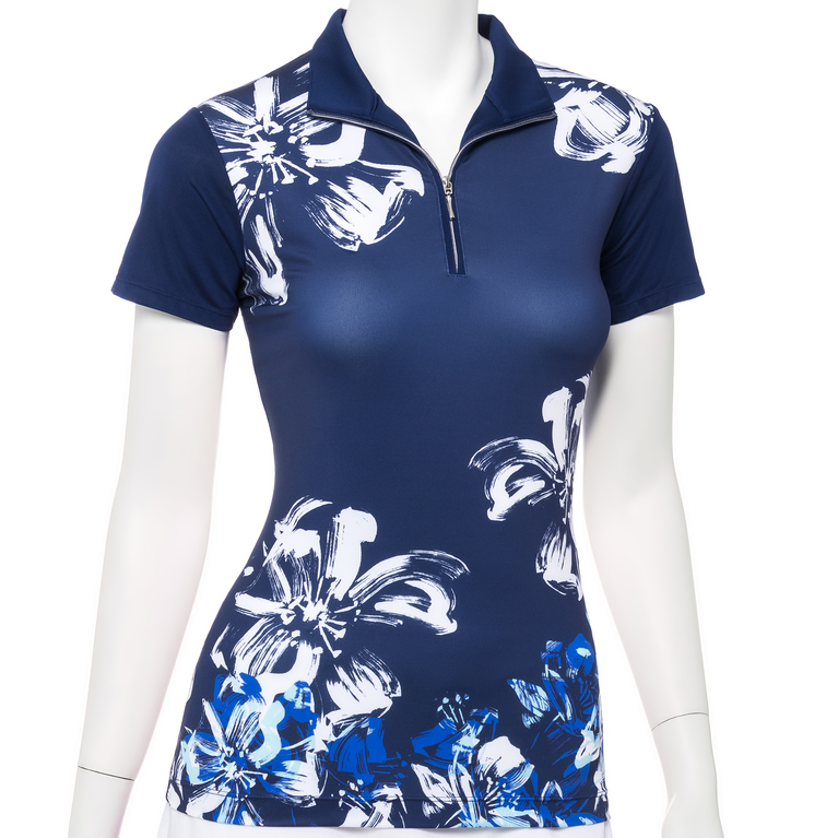 Out of the Blue Collection: Short Sleeve Floral Swoosh Print Polo