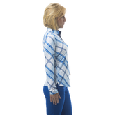 Alternate View 1 of SolCool Long Sleeve Hopscotch Plaid Quarter Zip Pull Over