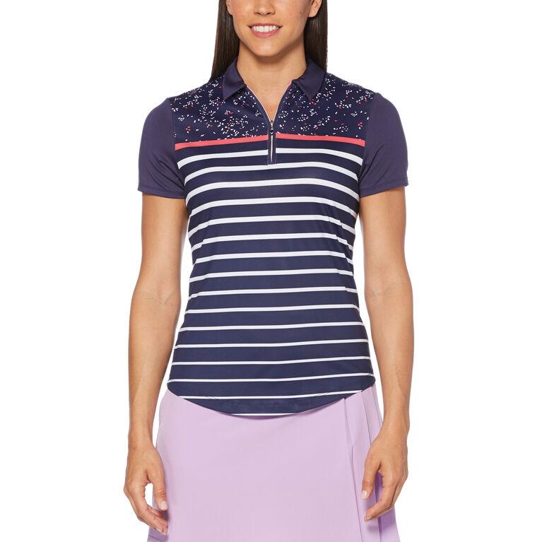 Teaberry Group: Mini Print Stripe Short Sleeve Golf Polo Shirt