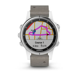Garmin fenix 5S Plus Sapphire GPS Watch - White with Grey Suede Band