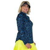 Alternate View 3 of Limonata Collection: Ditsy Print Quarter Zip Pull Over Top