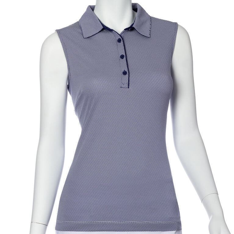 Silver Streak: Sleeveless Geo Polo