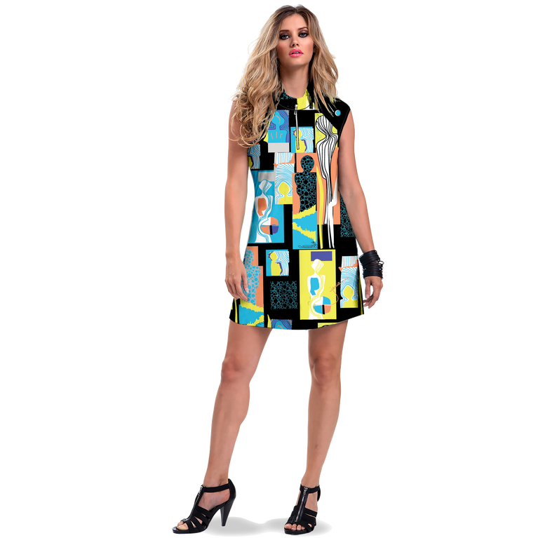 Casa Collection: Shiny Happy People Print Sleeveless Dress