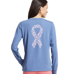 Breast Cancer Awareness Long-Sleeve Whale Ribbon Pocket Tee