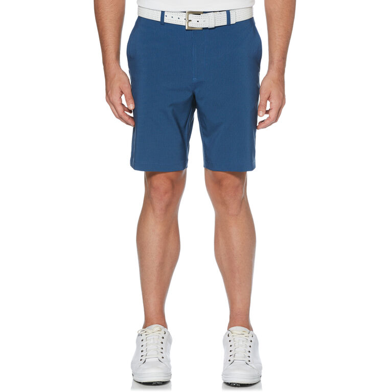 Flat Front Printed Tech Herringbone Short with Active Waistband
