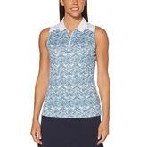 Aqua Group - Feminine Mosaic Print Sleeveless Polo Golf Shirt