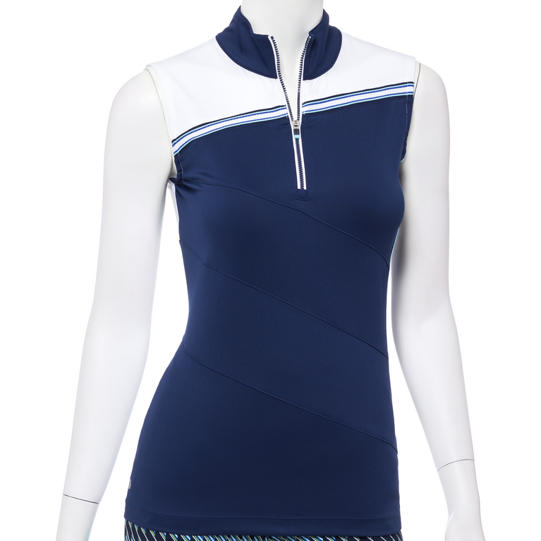 Out of the Blue Collection: Sleeveless Stripe Zip Mock Polo