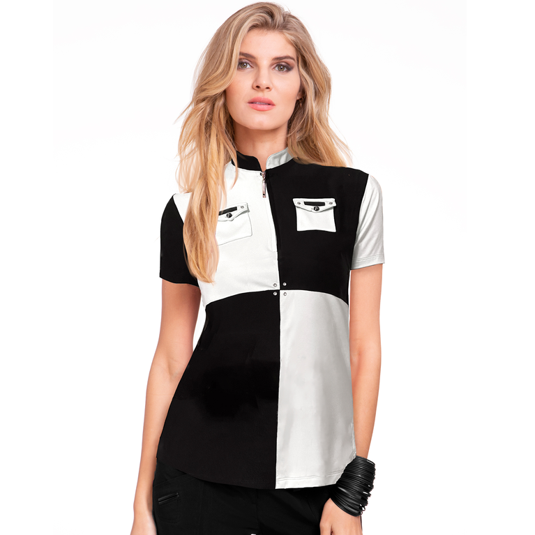 Casa Collection: Short Sleeve Color Blocked Top