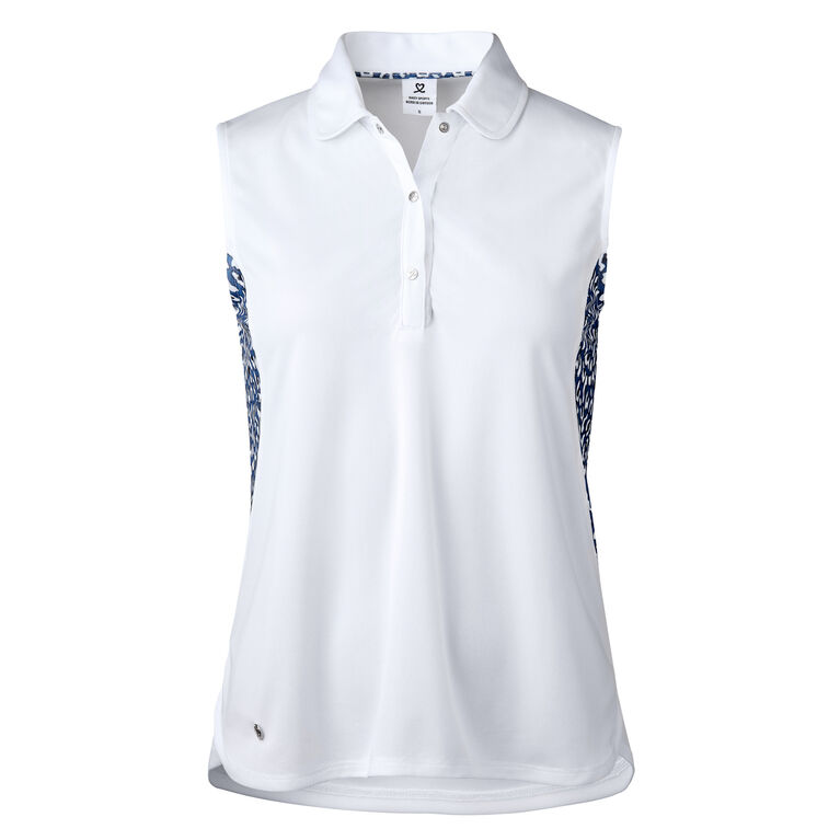 Ultra Group: Bess White Sleeveless Polo