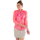 Alternate View 4 of Pink Lady Collection: Half Sleeve Tropical Print Polo Shirt