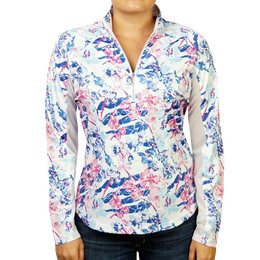 Flower Power Printed Quarter Zip Pull Over