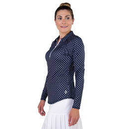Cape Map Collection: Long Sleeve Polka Dot UV Quarter Zip Pull Over