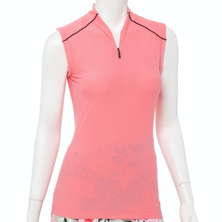 Cargo Chic Collection: Sleeveless Mandarin Collar Quarter Zip Top