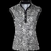 Tiana Black Tiger Sleeveless Polo Shirt