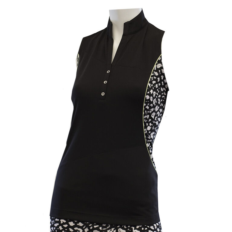 EP Pro Sleeveless Ikat Leopard Blocked Polo