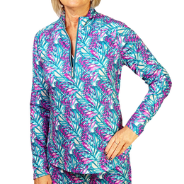 Butterfly Collection: Long Sleeve Butterfly Print Quarter Zip Pull Over
