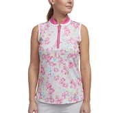 Cheeky Collection: Sleeveless Floral Print Polo Shirt