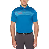 Textured Chest Printed Short Sleeve Polo Golf Shirt