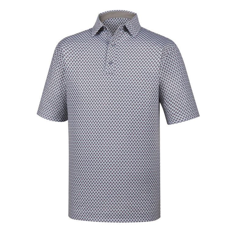 Athletic Fit Lisle Foulard Print Self Collar Polo