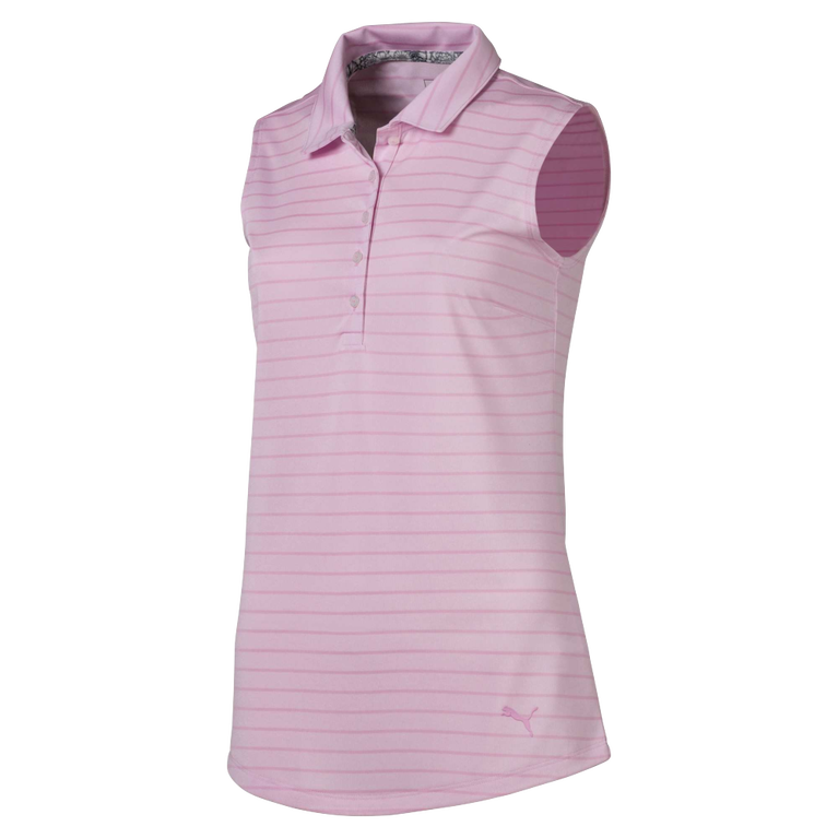 Pale Pink Group: Rotation Stripe Sleeveless Golf Polo