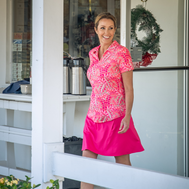 Pink Lady Collection: Vera Short Sleeve Leaf Print Polo