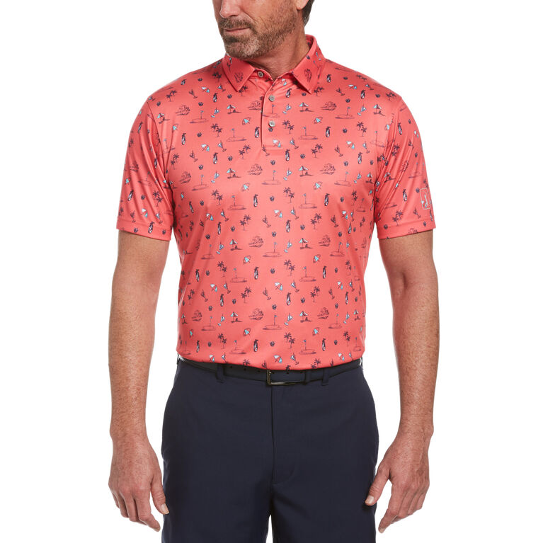 Golf Vacation Print Short Sleeve Golf Polo Shirt