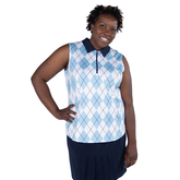 Alternate View 5 of Cape May Powder Collection: Sleeveless Argyle Polo Shirt