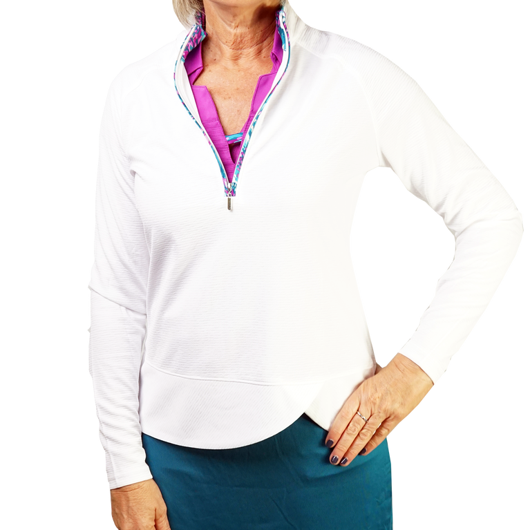 Butterfly Collection: Long Sleeve Printed Trim Quarter Zip Pull Over