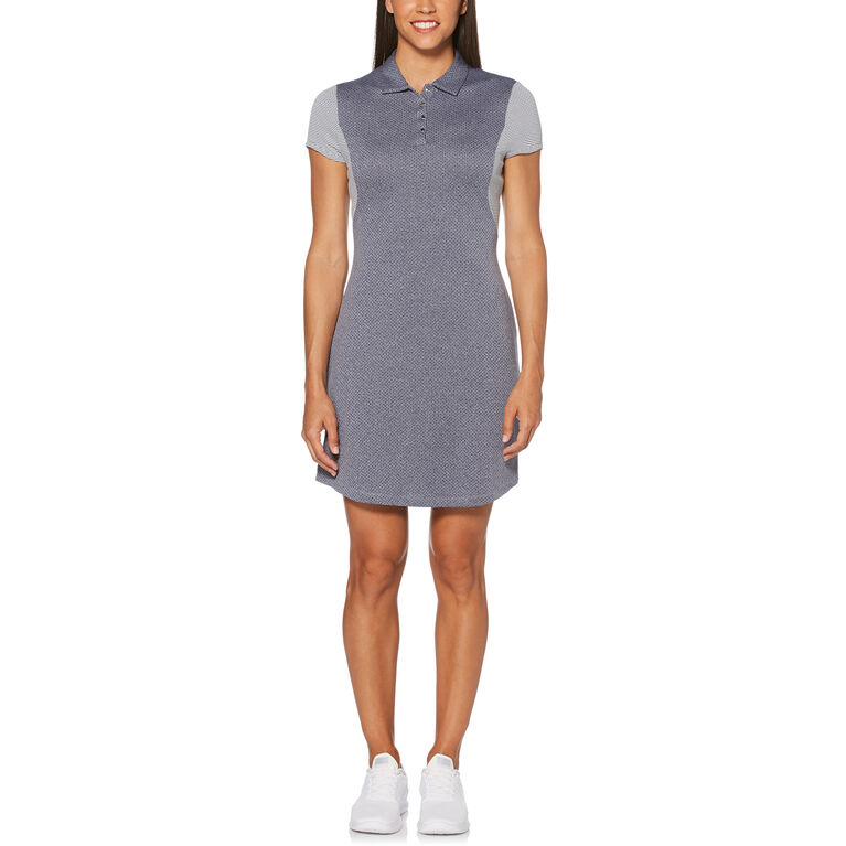 Rose Group: Women's Heather Color Block Short Sleeve Polo Golf Dress