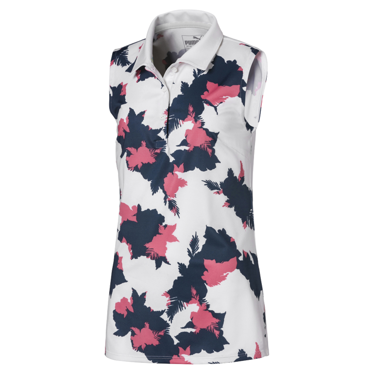 Girls Sleeveless Floral Polo Shirt