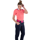 Alternate View 1 of Pink Lady Collection: Short Sleeve Zip Front Polo Shirt