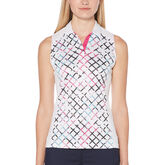 PGA TOUR Floral Grid Print Sleeveless Top