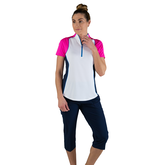 Alternate View 3 of Rojito Collection: Short Sleeve Colorblock Zip Top
