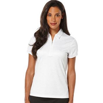 PGA TOUR Womens Short Sleeve Stencil Floral Print Polo
