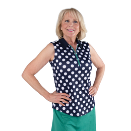 Appletini Collection: Sleeveless Polkadot Polo