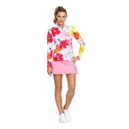 Floral Fun Long Sleeve Quarter Zip Pull Over