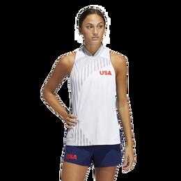 USA Olympics Sleeveless Mock Neck Zip Polo Shirt