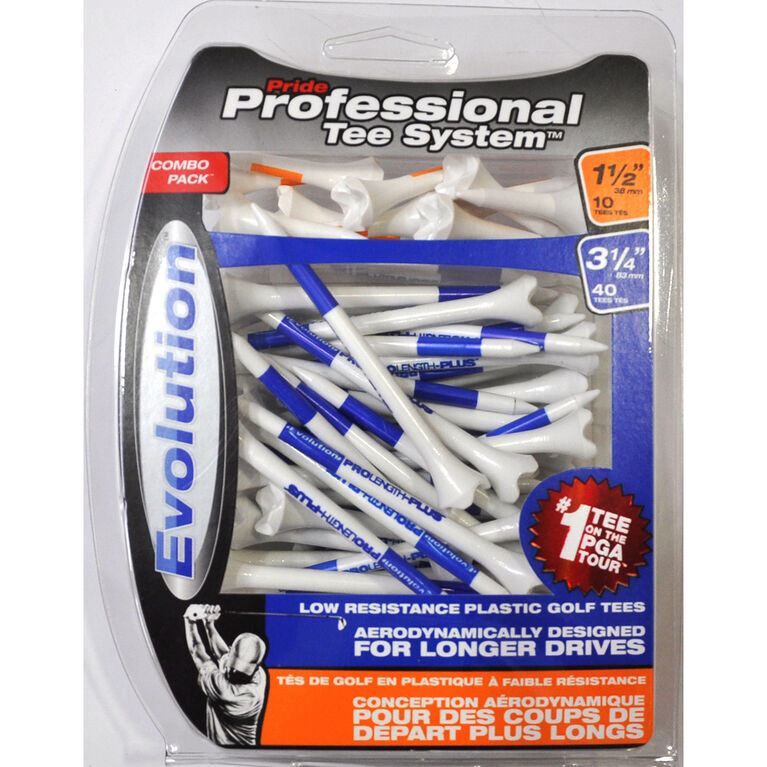 Professional Tee System 1-1/2 & 3-1/4 inch Evolution Tees Combo 50 Pack